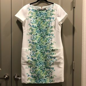 Julian Taylor NY | White Dress Blue Green Floral